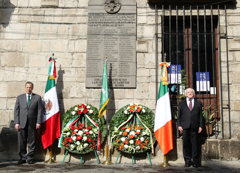 The San Patricios are regularly honored by officials in both Mexico and Ireland, as seen here in this commemoration held at the Monument to the St. Patrick