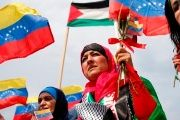 Women protesting Israeli terrorism at a Palestine-Venezuela solidarity protest in Caracas.