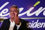 Lenin Moreno, candidate of the ruling PAIS Alliance Party, gestures at the Hotel Colon during the presidential election in Quito.