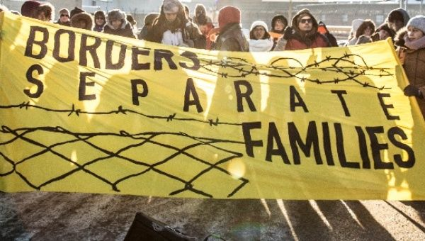 Migrant rights activists outside a Canadian jail holding immigration detainees
