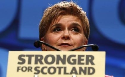 Party leader Nicola Sturgeon speaks at the Scottish National Party