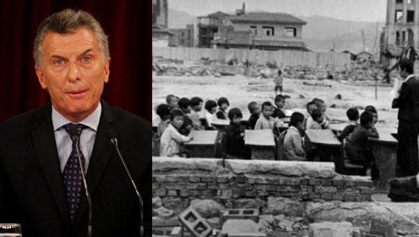 Macri controversially used Hiroshima to criticize teachers unions in Argentina.