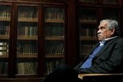 Literature Nobel laureate Derek Walcott sits inside the library of Oviedo's University, March 2006.