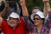 Former Brazilian presidents Luiz Inacio Lula da Silva (L) and Dilma Rousseff wave to supporters in Monteiro, Paraiba state, Brazil, March 19, 2017.