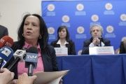 Venezuela's OAS representative Carmen Luisa Velasquez as she interrupts Almagro's press conference.