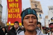 People march during a protest against plans to pass the Dakota Access pipeline under Lake Oahe and near the Standing Rock Indian Reservation, North Dakota.
