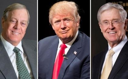 David Koch (L), Donald Trump (C) and Charles Koch (R) are competing to see who can cut off more people from healthcare coverage.