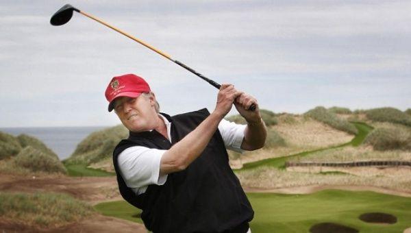 Donald Trump at the Trump International Golf Links course, Aberdeen ...