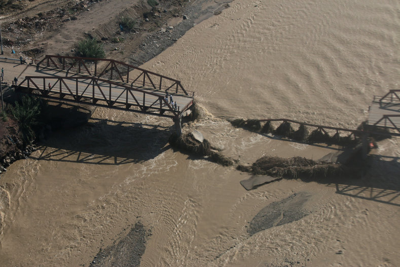 Aerial view of the collapsed Viru bridge at the Pan American highway after a massive landslide and flood in Trujillo, March 22, 2017.