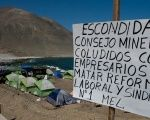 A camp set up by striking workers at the world's biggest copper mine, Escondida in Antofagasta, Chile, is seen on March 10, 2017.