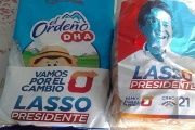 Lasso's campaign has created branded food products ahead of Ecuador's election and allegedly handed them out for free to voters.