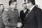 U.S. Secretary of State Henry Kissinger and Argentina's Augusto Pinochet.