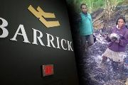 Barrick Gold logo against villagers.