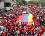 Thousands lined San Francisco Avenue in Caracas chanting