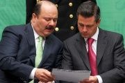 Birds of a feather? Fugitive former Governor Cesar Duarte (L) with Mexican President Enrique Peña Nieto
