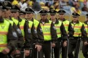 Law enforcement officers representing the national police of Ecuador.