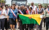 On Saturday, it was the mayors of Guyana who participated in a march to support the regional strike launched by the workers' unions and collective groups on March 25, 2017 in Kourou, French Guiana.