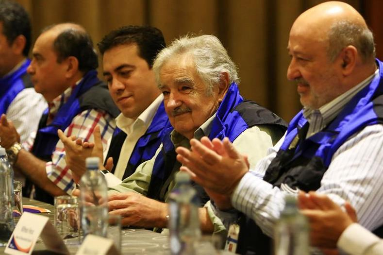 "Chief of the Unasur election mission, former Uruguayan President Jose ""Pepe"" Mujica, attends a meeting in Guayaquil the day ahead of the election."