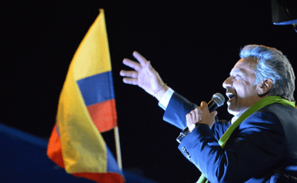 Lenin speaks to supporters in Quito.