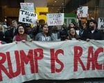 Protesters gather near Grand Central Station to protest against then Republican presidential candidate Donald Trump, April 14, 2014 in New York.