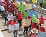 Barbados Secondary Teachers Union members marching in Bridgetown, Barbados. April 5, 2017