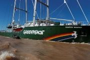 Greenpeace's Rainbow Warrior III, a crowd-funded sailing yacht equipped with technology that reduces its ecological footprint, arrives in Buenos Aires, April 5, 2017.