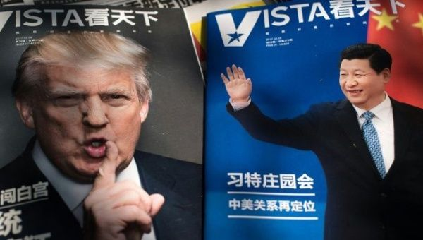 Magazines featuring front pages of U.S. President Donald Trump and China