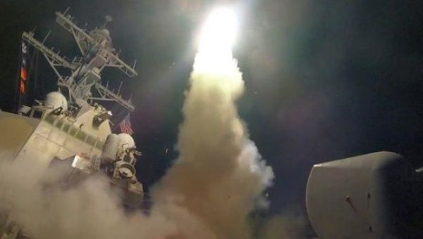 USS Porter launches a Tomahawk  missile in the Mediterranean Sea during Wednesday