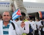 Groups of Cuban doctors arriving on a mission in Sierra Leone in 2015