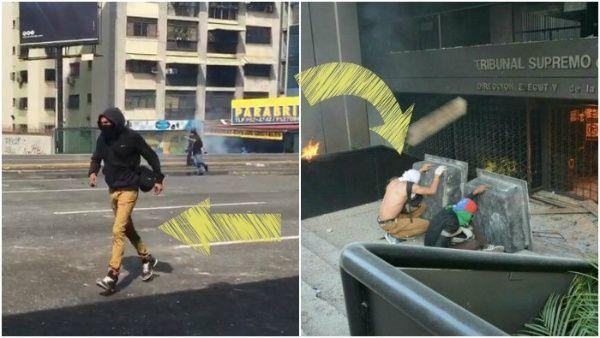 Ambas imágenes dan cuenta de un sujeto que vestía la misma ropa en dos marchas distintas, demostrando que su objetivo era realizar actos vandálicos