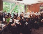 Portland State University students and community members show support for a divestment resolution, May 2016.