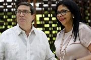 Cuban Foreign Minister Bruno Rodriguez speaks to his Venezuelan counterpart Delcy Rodriguez at the start of the ALBA meeting in Havana, April 10, 2017.