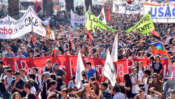 Protests line the streets of Santiago demading changes to education in the country.