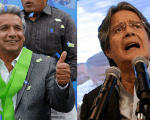 Leftist Lenin Moreno (L) beat right-wing former banker Guillermo Lasso in the presidential elections in Ecuador on April 2.