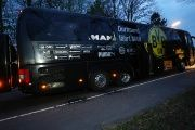 The Borussia Dortmund team bus is seen after an explosion near their hotel before the game.