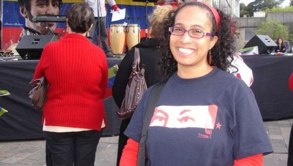 Afro-Venezuelan activist and feminist Maria Emilia Duran at a Bolivarian Revolution rally in Caracas.