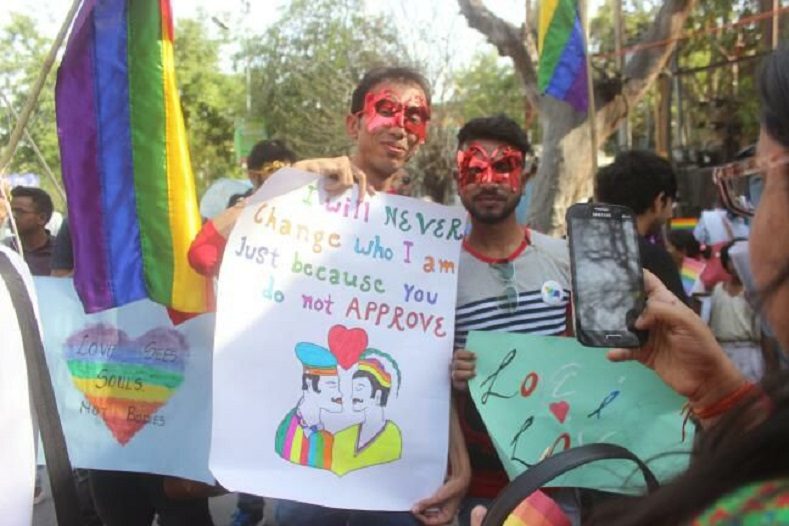 LGBTIQAs activists make their message clear in Lucknow.