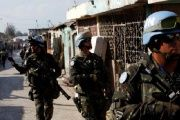U.N. peacekeepers patrol the neighborhood of Cite Soleil together with Haitian national police officers and members of UNPOL in Port-au-Prince, Haiti, March 3, 2017.
