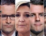 A combination picture shows five candidates for the French 2017 presidential election, from L-R, Francois Fillon, Benoit Hamon, Marine Le Pen, Emmanuel Macron, and Jean-Luc Melenchon.