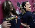 Pinatas depicting Mexican actress Kate del Castillo (L) and the drug lord Joaquin ''El Chapo'' Guzman are displayed outside a workshop in Reynosa, in Tamaulipas state, Mexico, January 13, 2016.