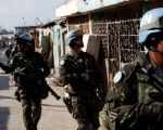 U.N. peacekeepers patrol the neighborhood of Cite Soleil together with Haitian national police officers and members of UNPOL (United Nations Police) in Port-au-Prince, Haiti, Mar. 3, 2017.
