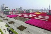A view of a military parade marking the 105th 'Day of the Sun', the birth anniversary of the state's founder Kim Il Sung, in Pyongyang, North Korea, in this still image taken from video released by North Korea's state-run television KRT on April 15, 2017.