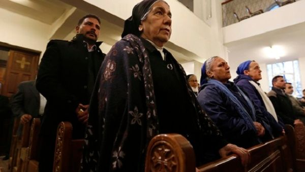 Jordanian Christians attend mass at the Coptic Orthodox Patriarchate in Amman, Feb. 18, 2017.