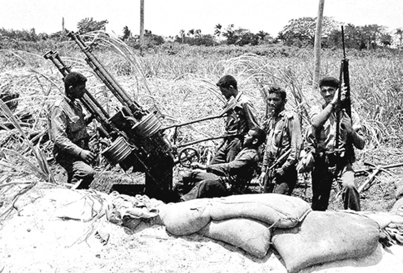 Soviet anti-aircraft guns skillfully staffed by the Cubans destroyed incoming warplanes.