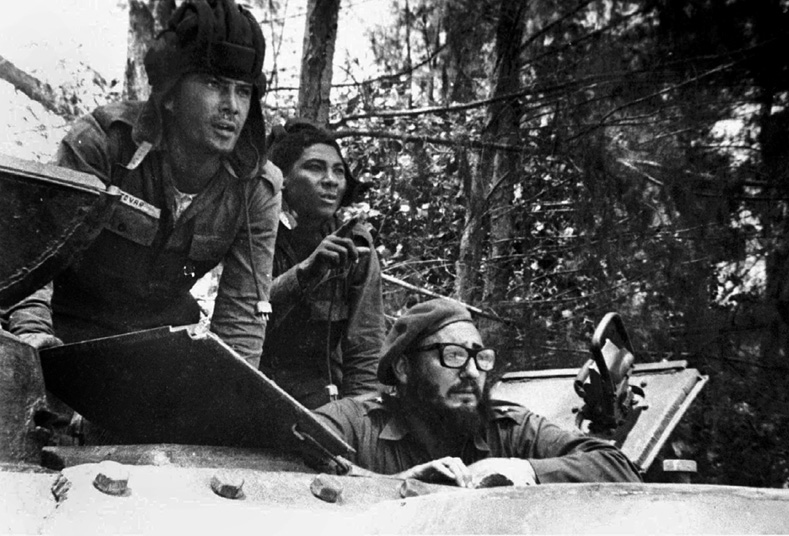 Cuban leader Fidel Castro sits inside a tank near the Bay of Pigs during the invasion, April 17, 1961.