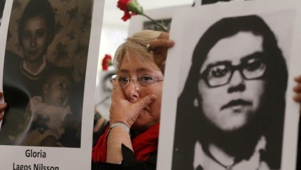 President Michelle Bachelet during a march to remember those disappeared during the dictaroship of Augusto Pinochet