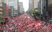 A sea of red on the streets of Caracas.