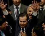 Rodrigo Maia celebrates being named speaker of the House.