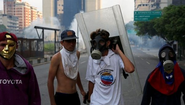 Opposition demonstrators during the violent protests against Venezuela
