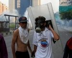 Opposition demonstrators during the violent protests against Venezuela's President Nicolas Maduro, in Caracas.